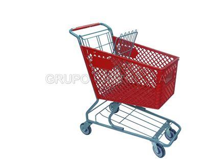 Foto de Carro supermercado Plástico 90ltrs Rojo