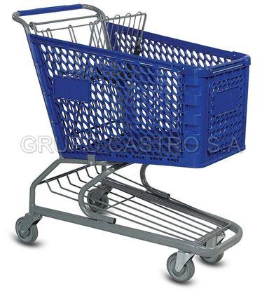 Foto de Carro supermercado Plástico 100ltrs Azul