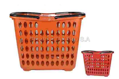 Foto de Canasta supermercado c/2 agarradera y rodines 44lX30anX34alt cm