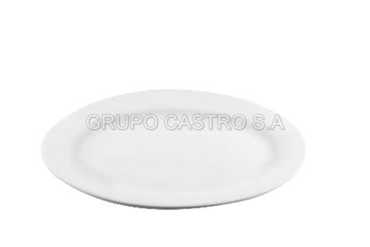 "Foto de Plato porcelana ovalado blanco 11"""