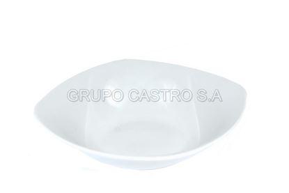 """Foto de Ensaledera porcelana 6"""" blanca honda cuadrada"""