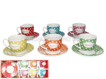 Foto de Set 6pcs plato y taza porcelana