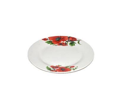 """Foto de Plato porcelana plano decorado 9"""" flores"""
