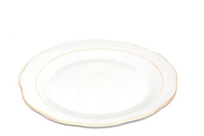 "Foto de Plato porcelana plano decorado 9""  borde dorado"