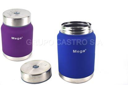 Foto de Thermo 0.5ltrs Mega comida acero inox c/boton colores pasteles