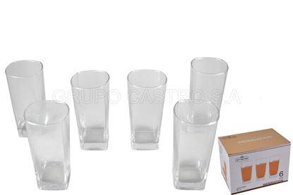 Foto de Jgo 6 vasos vidrio cuadrado 12 onz b176126cb prisma