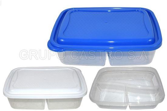 Foto de Recipiente basico rectangular dividido 1.4 lt azul 4-1036300 estra