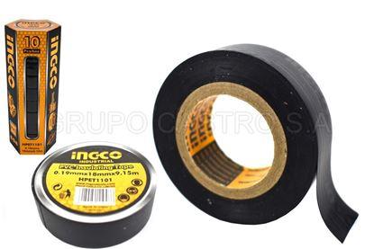 Foto de Tape negro 10 yardas ingco 10 pcs 0.19mmx18mmx9.15m HPET1101