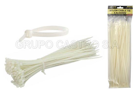 "Foto de Set 100  zuncho blanco plast. 12"" (300x4.8mm) scorpio"