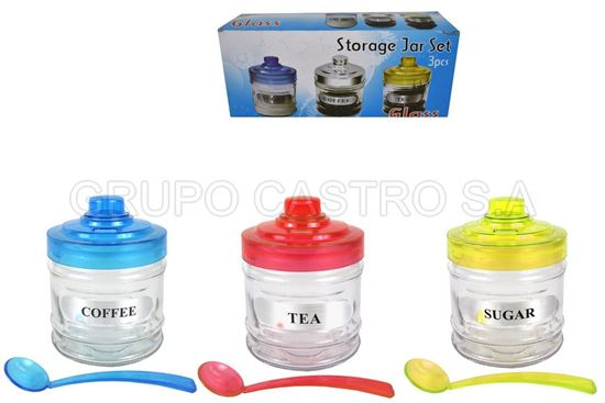 Foto de Set 3 pcs condimenteros vidrio 0501-3 storage jar set 9altx8an cm