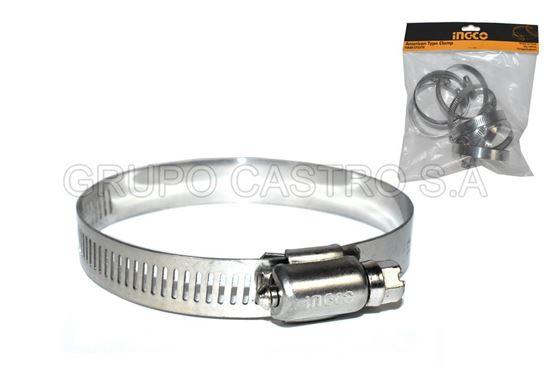"Foto de Set 10 abrazadera 3""x1/2""(52x76mm) ingco HAC1275276 acero inox (12.7mm)"