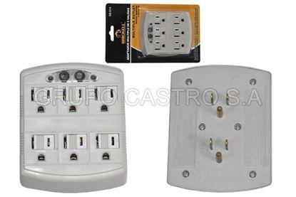 Foto de Tomacorriente X6 adaptador sb-014 brickell luz indicadora
