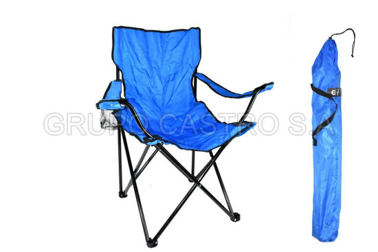 Foto de *SEGUNDA*Silla tela desarmable playera camping bch-nm03bl azul