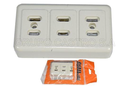 Foto de Tomacorriente 3 entradas parche U04/B blister 127v/15ap diesel lights
