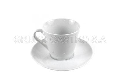 Foto de Plato y taza porcelana blanca 8onz