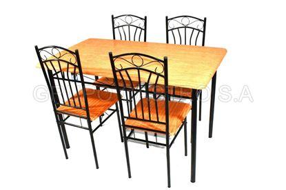 Foto de juego mesa rectag 4 sillas metal-madera  kennedy