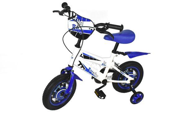"""Foto de Bicicleta 12"""" azul/blanca c/rodines BMX"""