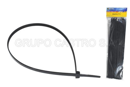 """Foto de Set 100  Zuncho negro Plast. 12""""x5mm (PBCT4.8X300mm) BECKER"""