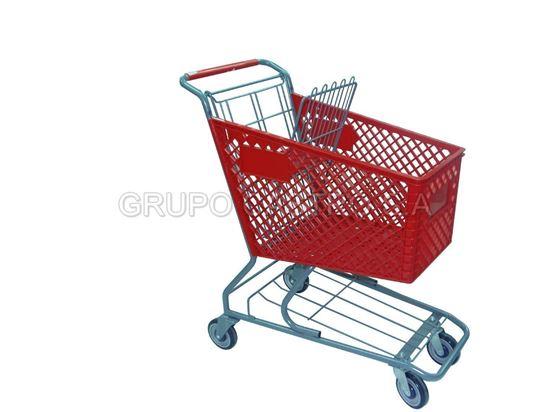 Foto de Carro supermercado Plástico 120ltrs rojo