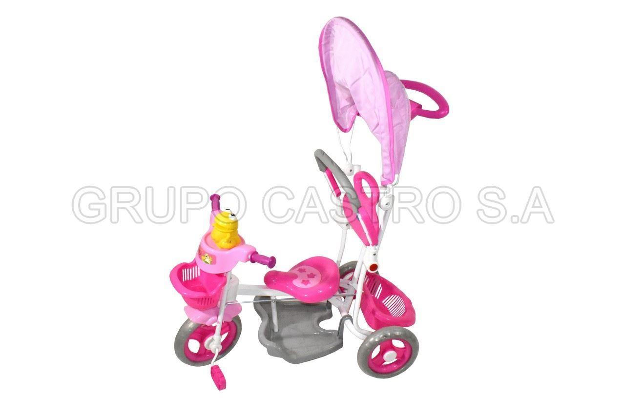 Foto de Triciclo  palanca/pito/doble canasta/descapies/pedales/barra seguridad 2/5años