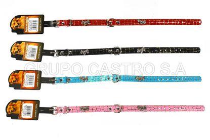 """Foto de Collar p/perro diseño brillante c/dorado y """"perritos"""" metalicos"""