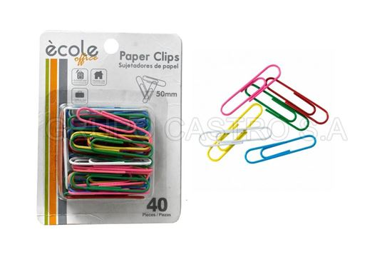 Foto de CLIPS SUJETADOR DOCUMENTO 50 MM ECOLE SXT-213 40 PCS