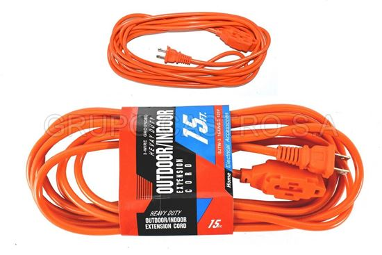 Foto de EXTENSION NARANJA CORD 15FT  16AWG/3 125V