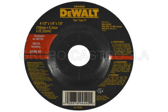 "Foto de DISCO METAL ESMERILAR 41/2""x1/4""x7/8"" DEWALT DW44540/A24R-BF/RPM13.300"