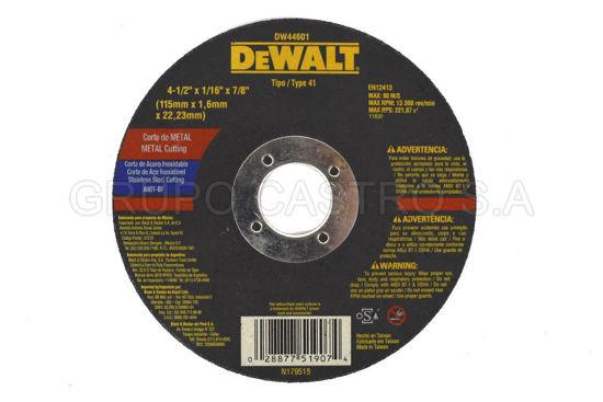 "Foto de DISCO CORTE FINO METAL 4 1/2X1 1/16X7/8"" DEWALT  RPM13.300"