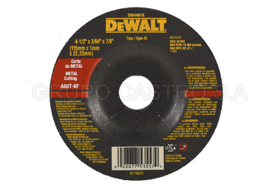"Foto de DISCO CORTE FINO METAL 4 1/2""X3/64""X7/8"" DEWALT DW44619RPM13.300"