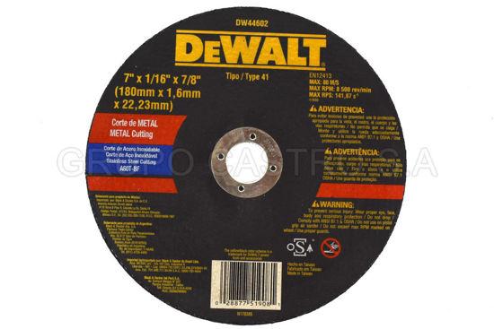 "Foto de DISCO CORTE FINO METAL 7X1/16""X7/8"" DEWALT DW44602 RPM8.500"