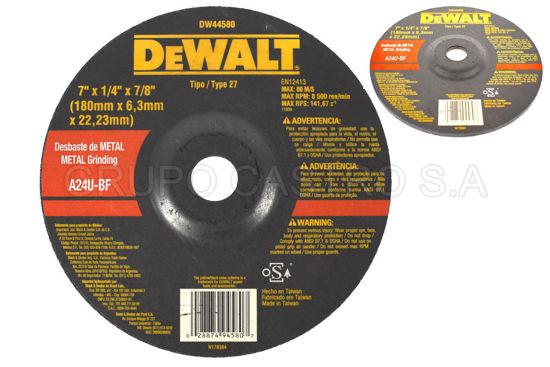 "Foto de DISCO METAL ESMERILAR 7""x1/4""x7/8"" DEWALT DW44580/A24R-BF/RPM8.500"