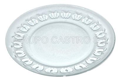 """Foto de Plato p/tortilla vidrio labrado 7"""" MD-CH7"""