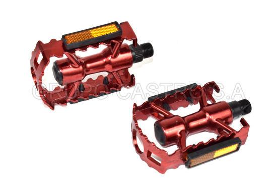 """Foto de JGO Pedal Aluminio rojo PL-DM961-R 9-1/6"""" 26"""" espiga gruesa"""