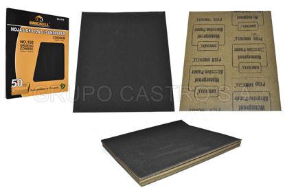 Foto de Lija metal caja 50 pcs150 negro impermeable agua 230X280 mm SCANBRIK ID-BK-1078