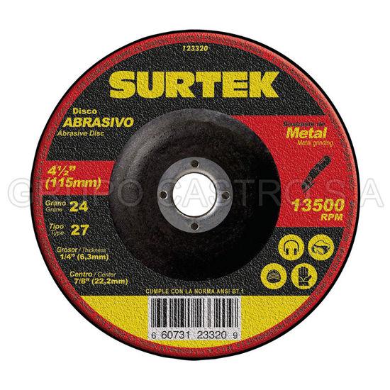 """Foto de Disco corte grueso 4-1/2""""x1/4""""x7/8"""" 123320 abrasivo 27 metal  uso ligero surtek"""