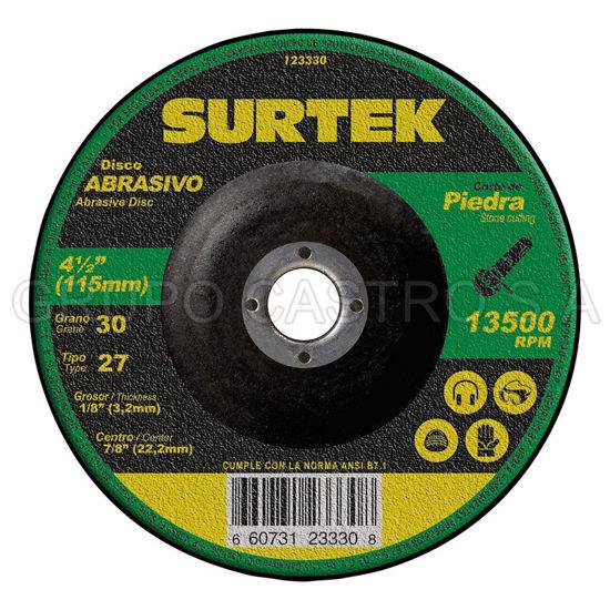 """Foto de Disco corte fino 4-1/2""""x1/8""""x7/8"""" 123330 abrasivo 27 metal mega pesado surtek"""