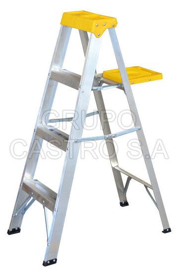 Foto de Escalera de aluminio tipo tijera ET3 3peldaños, 1.21 mts 90 KG peso maximo