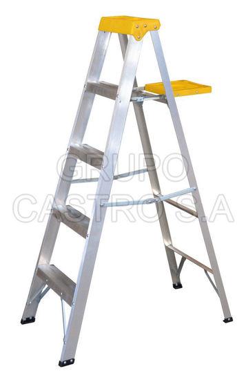 Foto de Escalera de aluminio tipo tijera ET4 4 peldaños, 1.54 mts 90 KG peso maximo