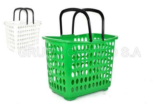 Foto de Canasta supermercado c/rodines naranja 44lX30anX34alt cm  8474080500 SALVAPLASTIC