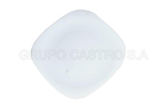 """Foto de Plato Cuadrado plano Temperado Blanco10.5"""" Ref.5546-02009238325 vidrio"""