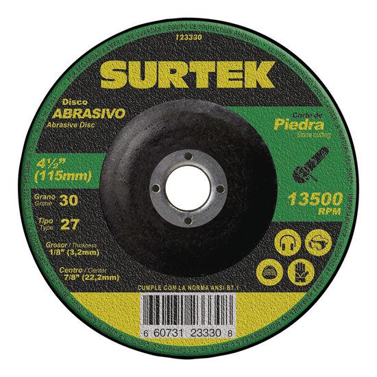 """Foto de Disco corte grueso abrasivo tipo 27 piedra 7""""x1/8"""" 123331 8500 RPM surtek uso mega pesado"""