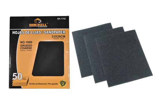 Foto de Lija caja 50 pcs madera #1000 negro impermeable agua 230X280 mm SCANBRIK BK-1752