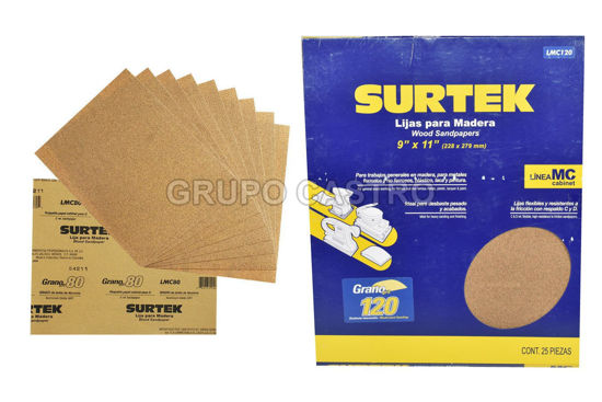 "Foto de Lija madera 25 pcs papel cabinet grano 120 LMC120 9"" x 11"" surtek desbaste pesado"