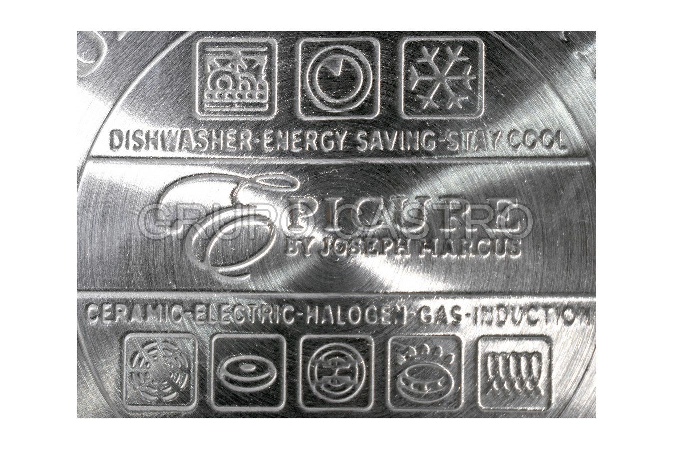 Foto de Jgo ollas acero inox t/vidrio picure disco difusor 12 pcs 8.6kgs  2x16/1X18/1x20/2x24cms EP-12TFGL