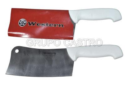 "Foto de Cuchillo hacha 8"" SM-788-8 puño cacha blanca western"