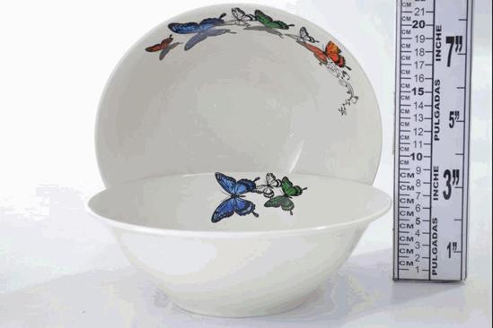 "Foto de Dulcera porcelana grande decorada mariposa 9"" SB-920"