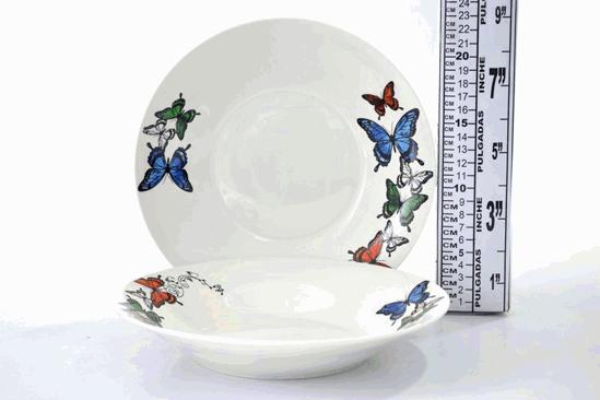 "Foto de Plato porcelana hondo decorado mariposas 9"" SP-920 lotus"